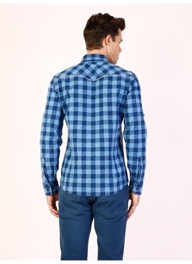 Colin's Kareli Uzun Kollu Gömlek İndigo
